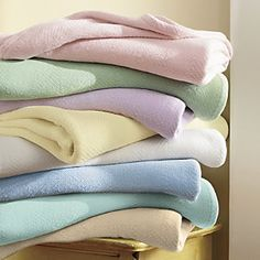 Youll want to have our Tranquility Blanket on hand as the perfect light layer for every season. Substantial, beautifully-dyed cotton blanket has a cozy zigzag-pattern weave and self-bound edges. Soothing Colors, Soft Colors, Pastel Colors, Colours, Soft Pastels, Calming, Winter Pastels, Linen Bedding, Bed Linen