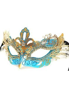 Masquerade - Blue and Gold Metal Mask With Crystals - Host an elaborate masquerade party, or select as a beautiful collectable you will always treasure. Masquerade Halloween Costumes, White Halloween Costumes, Blue Costumes, Masquerade Party, Masquerade Masks, Party Costumes, Halloween Stuff, Venetian Masquerade, Venetian Masks