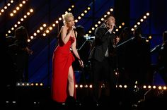 """Gwen Stefani Photos Photos - Singers Gwen Stefani (L) and Adam Levine perform """"My Heart Is Open"""" onstage during The 57th Annual GRAMMY Awards at the at the STAPLES Center on February 8, 2015 in Los Angeles, California. - 57th GRAMMY Awards - Show"""