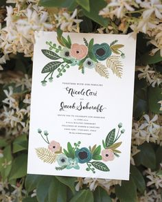 """A floral motif and whimsical calligraphy by Betsy Dunlap added a vintage touch to these invitationsby Rifle Paper Co. """"I wanted them to be as romantic as Italy,""""said the bride, referencing the location of the 1700s Tuscan farmhouse where the couple exchanged vows."""