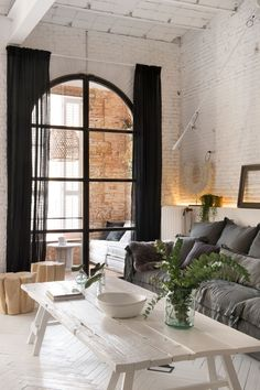 <p>From their dream open kitchen, the whitewashed herringbone floors, the vaulted ceilings, the exposed brick, the fireplace, the free standing bathtub in the bedroom, the oversized lanterns and the s