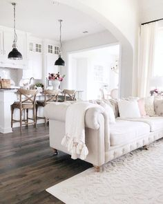 Kitchen and Living Room Updates: New Pendants, Bar Stools, Kitchen Chairs, Coffee Table - My Texas House Living Room Update, Home Living Room, Living Room Designs, Living Room Decor, Boho Home, Interior Decorating, Interior Design, White Rooms, Deco Design
