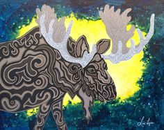 Magic in the Moonlight - My Painted Path Magic In The Moonlight, Northern Nights, Paths, Moose Art, Original Paintings, Birds, Artist, Prints, Animals