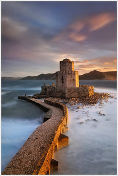 Fortress of Methoni in Peloponnese, Greece. This fortress was occupied and fortified back as early as 4th century BC. The castle of Methoni rises deserted and isolated today. When the winter winds hit its walls the locals say that you can hear the screams of the prisoners and the unjustly killed in the Bourtzi. Beautiful!