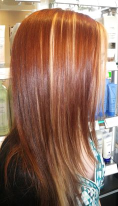 bright Aveda red with peek-a-boo highlighting through the heavy side of the part and back... a look to move us towards fall browns and reds!