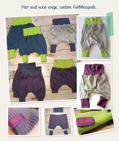 Free sewing pattern. Baby Bloomers. German Pumphosen Farbeispiele