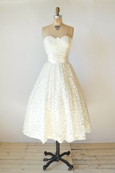 1950s Tea Length Wedding Dress