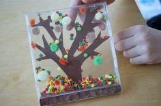 Jesień- drzewo w opakowaniu po płycie CD. Autumn tree kids craft
