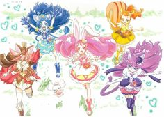 Kirakira⭐️Precure A La Mode: Cure Whip, Cure Custard, Cure Gelato, Cure Macaron, Cure Chocolat(and Cure Parfait which is not in here but the sixth)