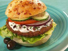 MorningStar Farms® Greek Veggie Burgers with Olive Garlic Sauce