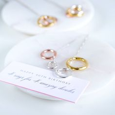 This is a wonderful present for a special person's or birthday, to celebrate entering the next decade of their life! Your necklace comes with a mini card which reads Happy (milestone) birthday, a ring for each amazing decade. Special Birthday Gifts, Happy 40th Birthday, Special Gifts, Gold Plated Rings, Silver Rings, Milestone Birthdays, Ribbon Colors, Box Chain, Grosgrain Ribbon