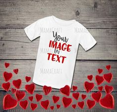 MOCK Up KIDS T-Shirt VALENTINE'S Day blank white png and