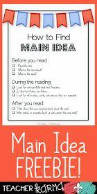 FREE Main Idea Resource TeacherKarma.com