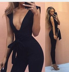 Nothing but sexy when you wear this jumpsuit. Deep V-neck design, sleeveless, straps waistline, slim silhouette only for flawless fit.Come and pick your favorite one. Material:Cotton Size:S,M,L,XL Col