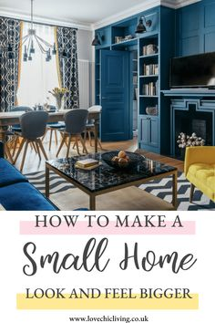 Ideas, tips and advice on how to maximise space in a small home. Interior hacks and tricks for making your home feel bigger than it really is. Small House Interior Design, Small House Decorating, Small Room Design, Small Apartment Decorating, Decor Interior Design, Interior Decorating, Decorating Tips, Small Studio Apartments, Small Apartment Living