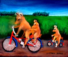 Grisarnas cykelutflykt, pastell. The pigs' bicycle ride, pastel.