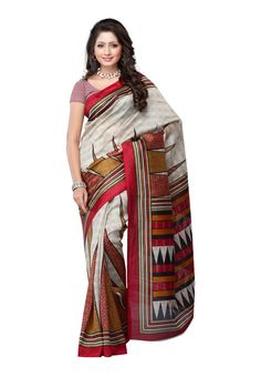 Saree Sari Sarees Fabdeal Traditional Beige Bhagalpuri silk Saree