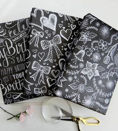 Assorted Chalkboard Art Wrapping Paper Sheets by Lily & Val on Scoutmob Shoppe Chalkboard Print, Small Chalkboard, Chalkboard Ideas, Wrapping Paper Crafts, Wrapping Papers, Wrapping Ideas, Lily And Val, Gift Wraping, Do It Yourself Inspiration