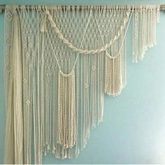 beautiful hand-made hanging macrame decoration made of cotton . Does not come with the flowers Macrame Wall Hanging Patterns, Large Macrame Wall Hanging, Macrame Patterns, Tapestry Wall Hanging, Metal Bird Wall Art, Metal Wall Decor, Macrame Curtain, Boho Curtains, Modern Tapestries