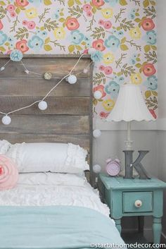 My daughters room reveal. With floral wallpaper, reclaimed wood bed and new white bedding!