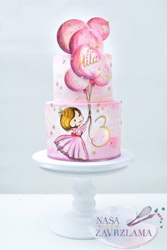 1st Birthday Cake For Girls, 6th Birthday Cakes, Ballerina Birthday Parties, Rodjendanske Torte, Hand Painted Cakes, Modern Cakes, Birthday Cake Decorating, Cake Pictures, Girl Cakes