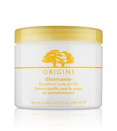 Origins Gloomaway Grapefruit body souffle. Let lively Grapefruit create a sense of optimism and contentment as your whole being is nurtured in silky-softness.