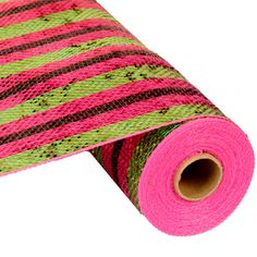 Lime Green Hot Pink Black Stripe Wide Foil Metallic Deco Poly Mesh® 10""