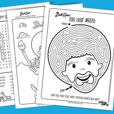 Amazing ideas for a Bob Ross Birthday Party! Want to hold a Bob Ross painting party? Happy Little Painters can celebrate their birthday or any occasion painting with the one and only iconic painter! Free Coloring Pages, Coloring Books, Adult Coloring, Bob Ross Birthday, Golden Girls Theme, Max And Ruby, Messy Bob Hairstyles, Bob Ross Paintings, Activities For Girls