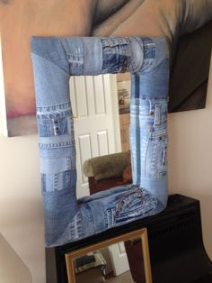 Denim mirror made from recycled jeans www.weebly.timmyandme