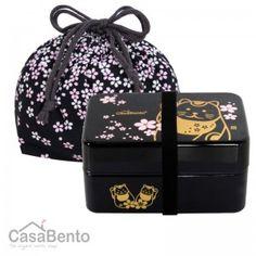 Maneki Neko Large Bento Box & Bag - Black