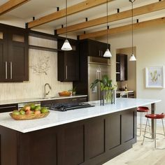 "light wood floors + dark cabinets + white quartz counter tops"" ""dark cabinets with light floor and beige walls"" - - Natural Bamboo Floor Design Ideas, Pictures, Remodel, and Decor - page 55"