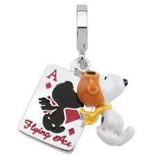 d30e27eda #ZALES - #Persona Persona Sterling Silver Peanuts Enamel Snoopy Flying Ace  Card Charm at