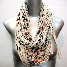 "Scarf Necklace - by ""Necklush"" - Circle Eternity Infinity -  Organic - ULTRA natural with bold and thin red and blk stripes"