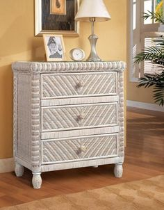 Discount Santa Cruz 3 Drawer Chest in White Wash - Stix 'N' Things Wicker Bedroom, 3 Drawer Chest, Wood Drawers, Wicker Furniture, Dresser As Nightstand, Rattan, Solid Wood, Indoor, Collection