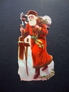Alte Oblate Weihnachtsmann 12 x 6 cm um 1900
