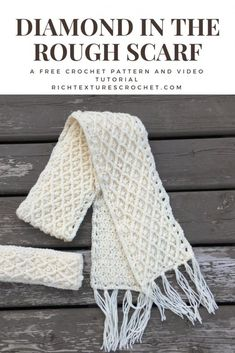 A free crochet pattern for a scarf with great texture and warmth! Free video tutorial is also included! Try this free Crochet Winter Scarf pattern in the diamond stitch. You'll love the diamond stitch after making this beautiful Crochet Winter Scarf. Bonnet Crochet, Crochet Beanie, Crochet Shawl, Crochet Stitches, Free Crochet Scarf Patterns, Crochet Winter Hats, Crochet Scarves, Crochet Clothes, Crocheted Scarf
