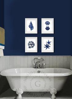 Navy Blue Wall Art set of 4 Beach Decor, seashells, starfish. Coastal Wall Art, Beach Bathroom Wall Decor.