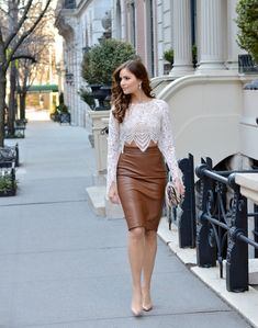 cropped lace top with high waist leather skirt