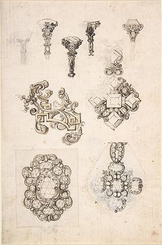 Sheet of Jewelry or Decorative Designs Anonymous, Italian, 17th Century  Pen and Brown Ink over Graphite Underdrawing