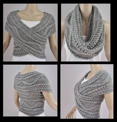 "diy_crafts-Bufanda circular ""Grey Vest Jacket Bolero Snood Knitted by FrenchCrochetStory"" Crochet Poncho, Crochet Scarves, Crochet Clothes, Diy Clothes, Crochet Shrugs, Knit Cowl, Sewing Clothes, Cable Knit, Diy Fashion"