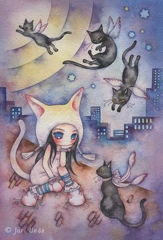 On the rooftop by Juri Ueda Found this illustrator on one of my follower's (Alice wonderland) Art board. Such a good find!!