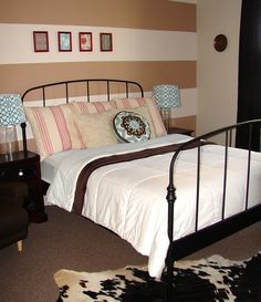 Country Chic - Guest Bedroom #stripes #guestbedroom #cowhide #interiordesign #coral