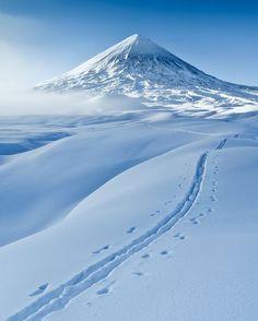 Path to snow-covered Klyuchevsky Volcano, Kamchtaka, Russia.