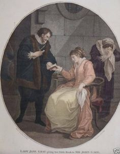"""""""Lady Jane Gray Giving Her Table Book to Sir John Gage, Constable of the Tower Before Her Execution."""""""