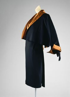 Theater suit, 1951 Charles James (American, born Great Britain, 1906–1978) Copper silk satin, black wool cashmere