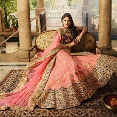 Buy Staring Pink Colored Designer Partywear Embroidered Paper Silk Lehenga Choli at Get latest Lehengas for women's at Peachmode. Bollywood Lehenga, Indian Lehenga, Silk Lehenga, Pakistani, Sabyasachi, Indian Bollywood, Anarkali, Tashan E Ishq, Eid Dresses