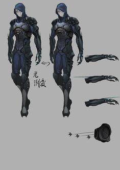 Pin by ryan t on mecha, sci-fi armor, etc дизайн персонажей, Fantasy Character Design, Character Design Inspiration, Character Concept, Character Art, Armor Concept, Weapon Concept Art, Gato Anime, Futuristic Armour, Sci Fi Armor
