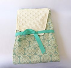 Ocean Baby Blanket Sea Green and Cream Minky Dot by DeMossDesigns