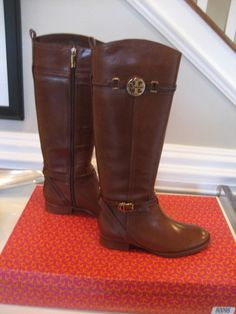 Tory Burch Calista Almond Leather Riding Boots