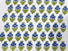 1 Yard Sanganer Cotton Natural Sewing Craft Hand Block Print Running Fabric V242 #NamasteyJaipur